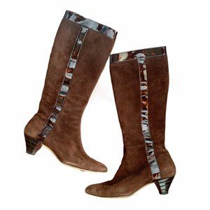 Oscar de La Renta Brown Suede Knee High Boots 8.5